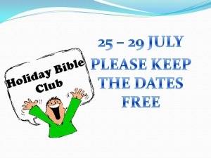 HOLIDAY BIBLE CLUB REMINDER